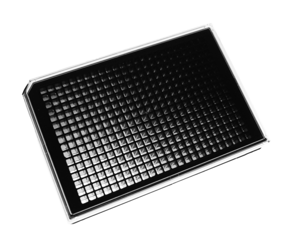Angled view of a black 384 well plate